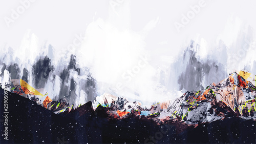 Fototapety, obrazy: Abstract painting of colorful mountains, Digital painting