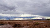 A strong thunderstorm strikes the arid lands of the Atacama Desert in northern Chile