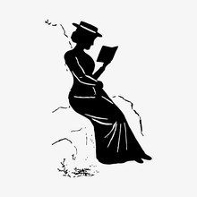 Lady Reading A Book Silhouette