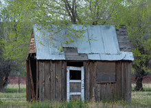 An Old Battered Shed With A Ti...