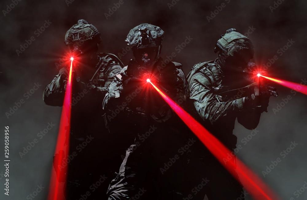 Fototapeta Special force assault team during a secret mission