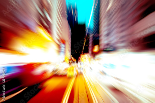 Foto  Abstract image of night traffic light trails in the city