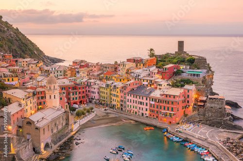 Poster Océanie View of Vernazza. One of five famous colorful villages of Cinque Terre National Park