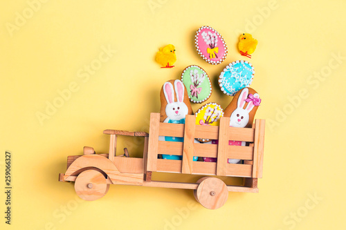 Wooden Toy Truck With Easter Homemade Gingerbread Cookies In The