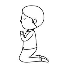 Little Boy Kneeling First Comm...