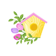 Birdhouse With Flowers On White Background. Vector Illustration.