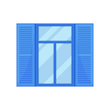 Window With Blue Shutters On White Background.