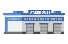 Warehouse Commercial Building Loading Docks. Storage Center Logistics.Isolated Object White Background. Flat Vector.