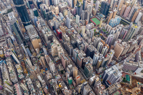 Photo Stands New York Top view of Hong Kong city
