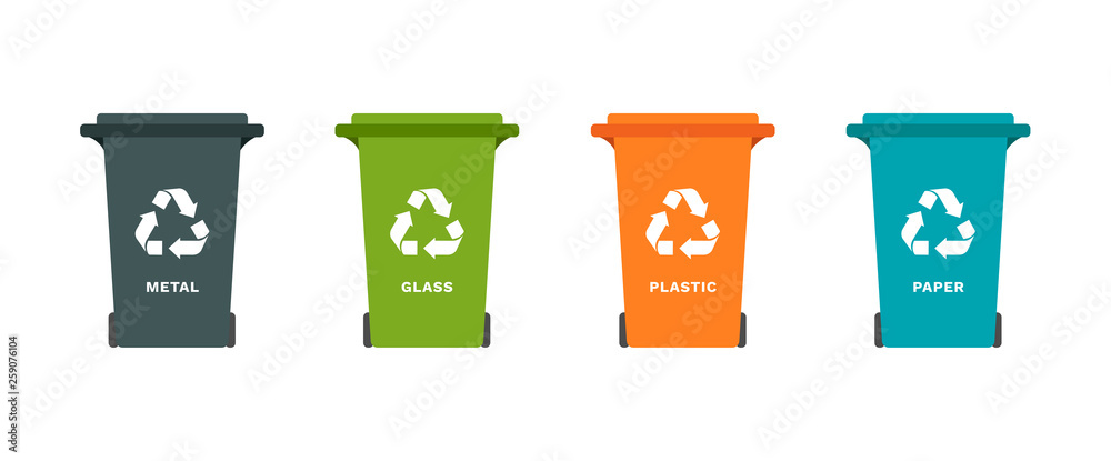 Fototapeta Vector colorful illustration concept set with garbage bins with symbol of recycling for separation trash: paper, metal, glass, plastic. White background