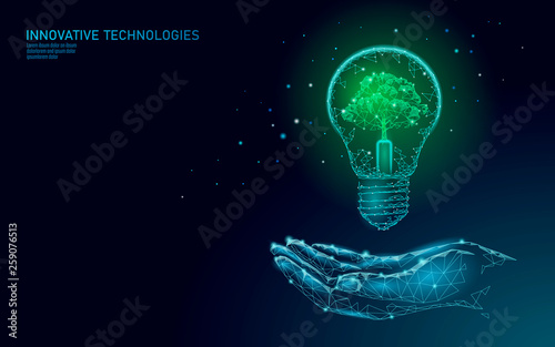 Obraz Hand holding light Bulb lamp saving energy ecology concept. Polygonal light blue sprout small plant seedling inside electricity green energy power banner vector illustration - fototapety do salonu