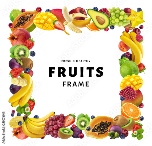 Square frame made of different fruits and berries, isolated on white background, healthy food concept, copy space