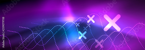 Fotografie, Obraz  Neon glowing techno lines, hi-tech futuristic abstract background template with