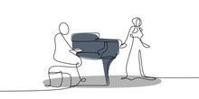 Continuous Line Drawing Of Men Playing Piano Music Instruments And Singing Women.