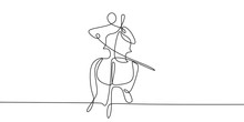 Continuous Line Drawing Of Someone Playing Classical Music Instruments.