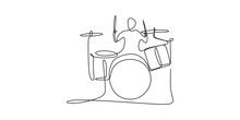 Drummer Jazz Player One Continuous Line Drawing