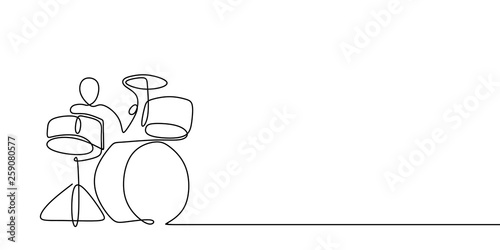 Stampa su Tela continuous line drawing of men playing musical drum instruments.