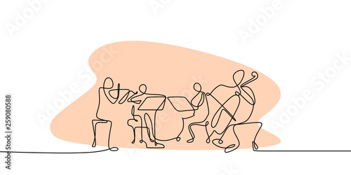 continuous line drawing of jazz classical music concert performance on the stage Fototapet