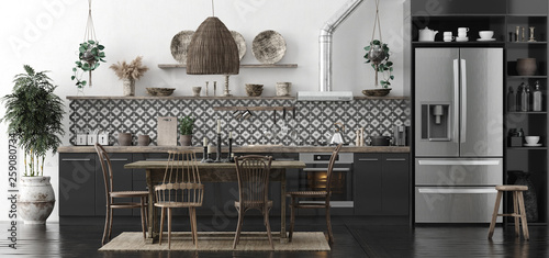 La pose en embrasure Style Boho Ethnic kitchen interior, panoramic view, 3d render