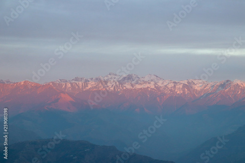 The Himalayas after the sunset, Chamba Valley, Himachal Pradesh, India.