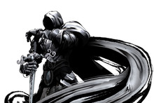 Gloomy Knight In Black Armor With A Cloak And Sword In His Hands Stands Proudly On A White Background
