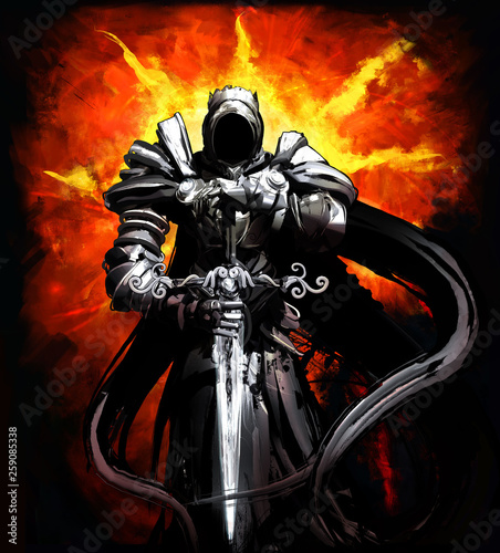 Knight of darkness with a sword stands amid the hellish sun Wallpaper Mural