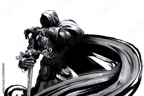 Gloomy knight in black armor with a cloak and sword in his hands stands proudly Fototapet