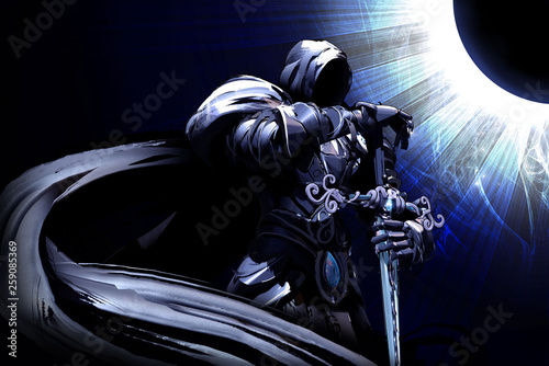 Fotografie, Tablou A black knight with a long cloak stands holding a sword against a blue Eclipse
