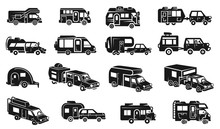 Motorhome Icons Set. Simple Se...