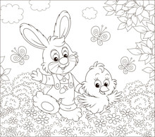 Little Bunny And His Friend A Small Chick Walking And Waving In Greeting Among Butterflies And Flowers On A Sunny Spring Day, Black And White Vector Illustration In A Cartoon Style