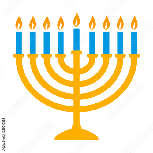 Fototapeta Hanukkah menorah candelabrum with nine lit candles flat vector color icon for ho