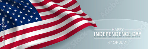 Stampa su Tela USA happy independence day greeting card, banner, horizontal vector illustration