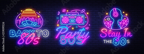 Photo  80's collection neon signs vector