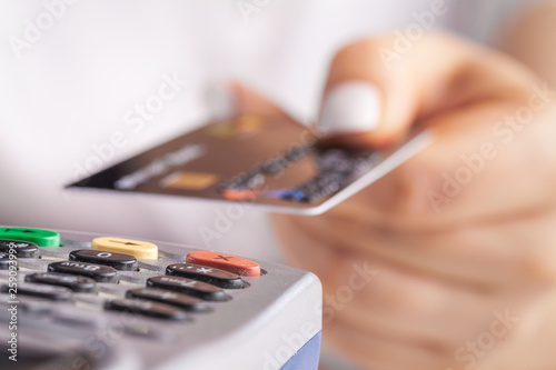 Canvas Print Paying with credit card