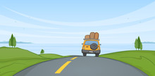 Cartoon Summer Landscape With Travel Car Rides On The Road And Sea On Horizon.
