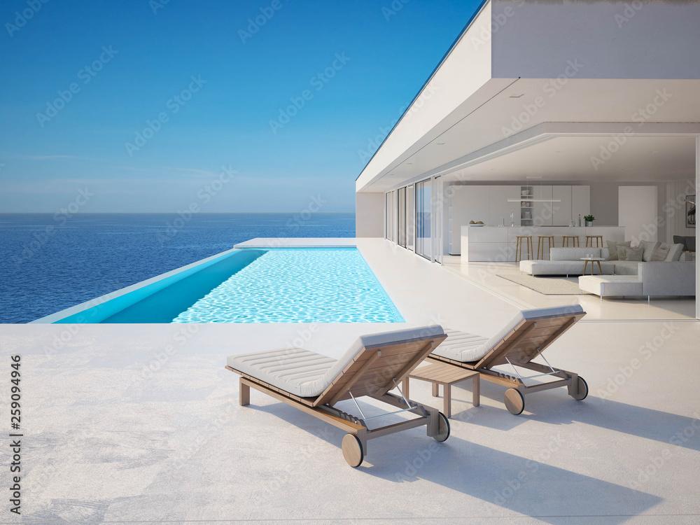 Fototapety, obrazy: 3D-Illustration. modern luxury summer villa with infinity pool