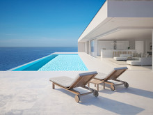 3D-Illustration. Modern Luxury Summer Villa With Infinity Pool