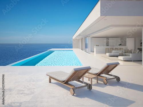 Stampa su Tela 3D-Illustration. modern luxury summer villa with infinity pool