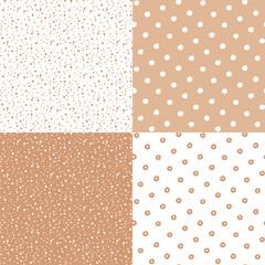 Polka dot in seamless patterns. Vector illustration set.