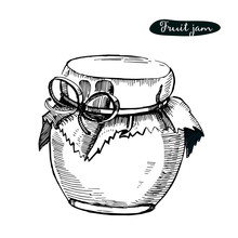 Vector Hand Drawn Illustration With Jar Full Of Fruit Jam,isolated On The White Background. Sketch Can For Jam.Cartoon Style.