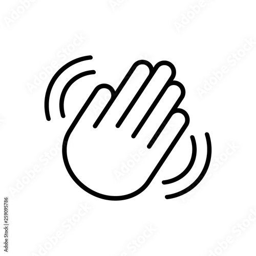 Hand wave / waving hi or hello gesture line art vector icon for apps and website Wallpaper Mural