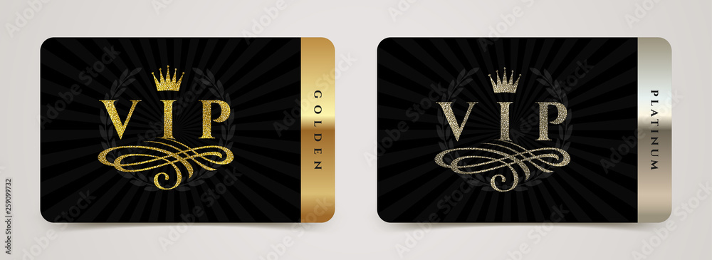 Fototapeta Golden and platinum VIP card template - type design with crown, flourishes element and laurel wreath on a black background. Vector illustration.