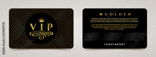 Photographie  Golden VIP card template - type design with crown, and flourishes element on a guilloche background