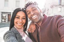 Happy Couple Taking Selfie Pho...