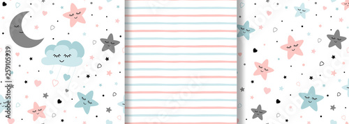 Set of baby patterns on light pink blue colors Girl boy Stars moon seamless background