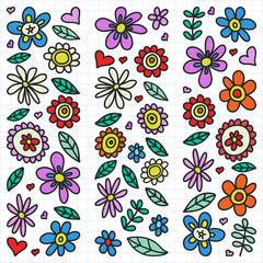 Vector set of child drawing flowers icons in doodle style. Painted, colorful, on a sheet of checkered paper on a white background