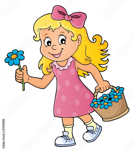 Girl with flower theme image 1