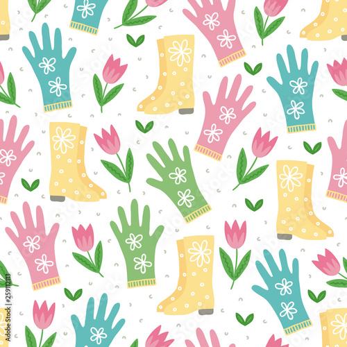 ogrodnictwo-wzor-z-tulipany-gumboots-i-rekawiczki