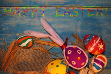Beautiful Colorful, Painted Easter Eggs On Blue Wooden Boards