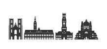 Belgium Logo.  Isolated Belgian Architecture On White Background
